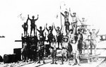Men of the Japanese 2nd Division celebrating successful landing, Merak, Java, 1 Mar 1942