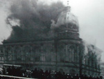 A synagogue in Germany burning, probably during Kristallnacht, 9 to 10 Nov 1938, photo 1 of 2