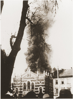 The Synagogue of Opava in Sudetenland, Germany burning during Kristallnacht, 10 Nov 1938