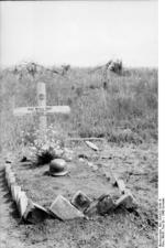 Battlefield grave of German Corporal Heinz Kühl, who was killed at the Battle of Kursk on 21 Jul 1943