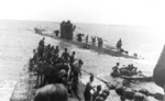 U-156 and U-507 with survivors of RMS Laconia in the Atlantic Ocean, 15 Sep 1942