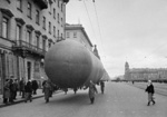 Barrage balloon being transported along Nevsky Prospekt in Leningrad, Russia, 9 Oct 1941