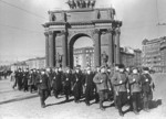 A volunteer unit made up of Kirov Factory workers marching in Leningrad, Russia, 1 Nov 1942