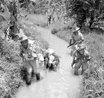 Men of the British 2/9th Gurkha Rifles training in the Malayan jungle, Oct 1941