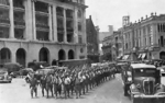 Japanese troops marching through Fullerton Square, Singapore, circa Feb 1942