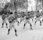 Men of the British Malay Regiment performing bayonet practice, Singapore, Oct 1941