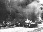 Japanese Type 95 Ha-Go tanks destroyed by Australian 2-pounder guns in Malaya, circa Dec 1941-Feb 1942