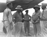 Admiral Raymond A. Spruance, Lieutenant General Holland M. Smith, Major General Henry L. Larsen, and Major General Roy S. Geiger, Orote Peninsula, Guam, Mariana Islands, 1 Aug 1944