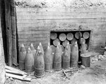 Japanese ready ammunition storage at the base of the revetment for two short 200mm guns at Bangi Point, Asan Beachhead, Guam, Mariana Islands, 5 Oct 1944
