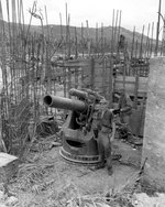 Japanese 200mm coastal defense gun at Bangi Point, Agat beachhead, Guam, Mariana Islands, 5 Oct 1944; note the incomplete revetment