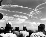 Aircraft trails above Task Force 58 during the Battle of the Philippine Sea, 19 Jun 1944; photographed aboard light cruiser Birmingham