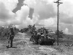 US Marines checking out a disabled Japanese tank, Tinian, Mariana Islands, Jul or Aug 1944