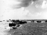 Landing craft moving toward Saipan landing beaches, Mariana Islands, 15 Jun 1944