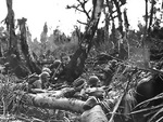 US Marines taking position behind cover, Saipan, Mariana Islands, Jun 1944