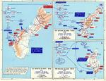 Map of the American invasions of Saipan, Tinian, and Guam of the Mariana Islands, 15 Jun-8 Aug 1944