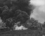 US Marine flamethrower tank in action, Saipan, Mariana Islands, Jun 1944