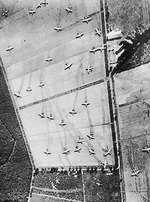 Reconnaissance aerial photo showing British Horsa and Hamilcar gliders on Landing Zone