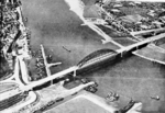 An aerial view of the bridge across the Waal River at Nijmegen, the Netherlands, circa 17-20 Sep 1944