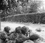 British troops of C Company, 5th Battalion, Border Regiment waiting in ditches near a road, observing German troops 100 yards away, Arnhem, Gelderland, the Netherlands, 20 Sep 1944