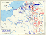 Map noting the front lines of the Western Front of European War and the Operation Market Garden offensive, 15 Sep-15 Dec 1944