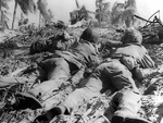 US Marines pinned down by Japanese fire, Eniwetok, Marshall Islands, 17-21 Feb 1944
