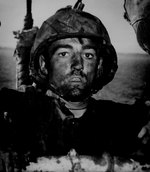 A US Marine dirty after two days of fighting on Eniwetok, Feb 1944