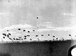 Yorktown laid a screen of anti-aircraft fire against Japanese torpedo bombers, afternoon of 4 Jun 1942