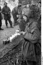 Italian and German troops eating a meal in the field, near Monte Cassino, Italy, 1943-1944