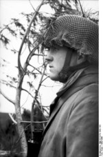 German paratrooper observing the field from a treetop position, Monte Cassino, Italy, 1943-1944, photo 2 of 2