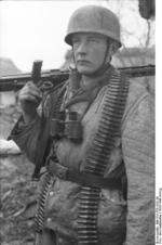 German paratrooper with MG 42 heavy machine gun, Monte Cassino, Italy, 1943-1944
