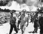 Barbey and MacArthur inspected the invasion beaches at Morotai Island, 15 Sep 1944