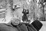 A German soldier being captured, near Moscow, Russia, 1 Dec 1941