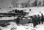 Soviet Army engineers preparing to build a bridge, near Naro-Fominsk, Russia, 28 Dec 1941