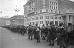 Soviet troops marching in Moscow, Russia, 1 Nov 1941