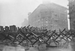 Anti-tank barricades on the streets of Moscow, Russia, Oct 1941, photo 1 of 3