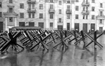 Anti-tank barricades on the streets of Moscow, Russia, Oct 1941, photo 2 of 3
