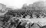 Anti-tank barricades on the streets of Moscow, Russia, Oct 1941, photo 3 of 3