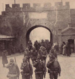Japanese troops marching into Qiqihar, Nenjiang Province, China, 19 Nov 1931, photo 2 of 2