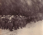 Japanese troops drilling in a snow storm, circa winter 1931-1932