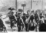 Japanese Kwantung Army troops marching in a town in northeastern China, northeastern China, Sep 1931