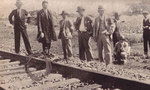 Japanese rail officials and reporters at the site of the alleged railroad sabotage, near Mukden, Liaoning Province, China, 18 Sep 1931