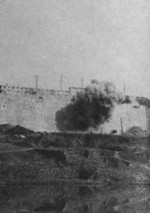 Japanese artillery bombarding the Nanjing city wall, China, circa 12 Dec 1937