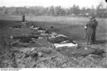 Dead German civilians at Nemmersdorf, East Prussia, Germany, late Oct 1944