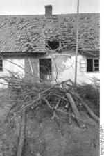 Destroyed buildings at Nemmersdorf, East Prussia, Germany, late Oct 1944, photo 2 of 6