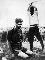 Australian Sergeant Leonard G. Siffleet of M Special Unit about to be beheaded by Japanese officer Yasuno Chikao, Aitape, New Guinea, 24 Oct 1943