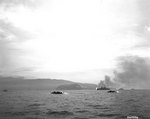LVTs headed for the invasion beaches at Humboldt Bay, New Guinea, as cruisers Boise and Phoenix bombard in the background, 22 Apr 1944