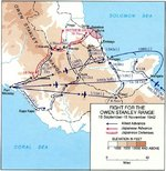 Map depicting Japanese attack and withdraw over the Owen Stanley Range, New Guinea, 18 Sep-15 Nov 1942