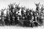 Japanese troops celebrating with captured Soviet vehicles, Battle of Khalkhin Gol, Mongolia Area, China, 1939