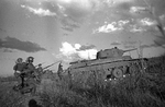 Soviet BT-7 tank and troops near the Khalkhin Gol river, Mongolia Area, China, Aug 1939