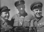 Soviet Brigade Commissar M. Nikishov, artillery officer N. Voronov, and corps commander Colonel General Georgy Zhukov, date unknown